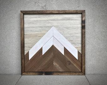 "Mountain Reclaimed Wood Wall Art - 16""x16"""