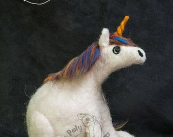 Roly Poly Unicorn - Needle Felted decorative sculpture.