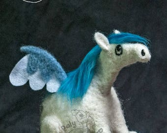 Roly Poly Winged Horse Pegasus - Needle Felted Decorative Sculpture.