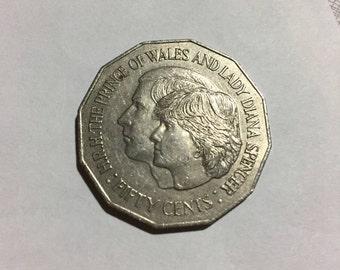 Australia 50 Cent Lady Diana Commemorative 1981