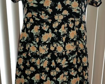 Vintage 90's Floral Babydoll Dress with Corset Laced Back Medium