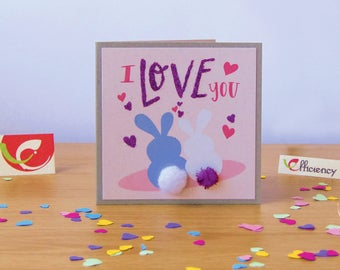 """Lovely card with bunnies """"I Love You"""" with fluffy tales"""