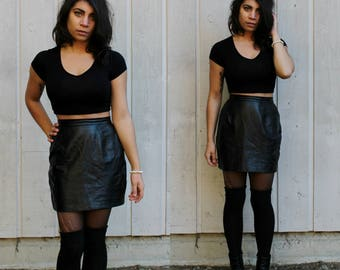 Vintage 90s Black Leather Pencil Skirt