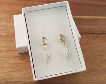 Labradorite and leaf sterling silver dangle earrings