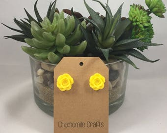 Rose Earrings Sunshine Yellow