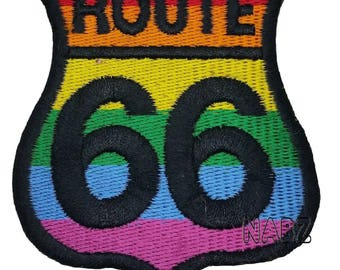 LGBT Route 66 Embroidery iron sew on Patch Badge