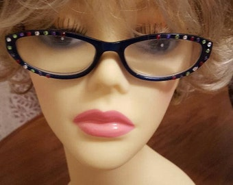 Glamour Swarovski adorned reading glasses - Rainbow Polka with case