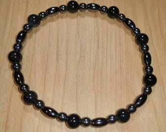 Snowflake Obsidian and Hematite Bracelet