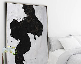 Large abstract painting canvas art, vertical minimalist painting, minimal art, black white brown, FREE shipping. Ethan Hill Art No.H28V