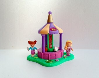 """Polly Pocket """"Duck Chase"""" Fun fair complete for wrinkles and surprises and spin pretty carousel amusement park, carnival, bluebird 1996"""