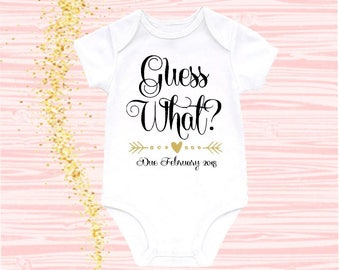 Guess What Baby Announcement Bodysuit Pregnancy Announcement Onesie Pregnancy Reveal Guess What