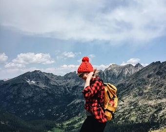 Red Pom Hat -Bright Red