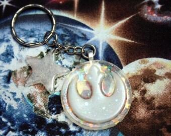 White Glitter Rebel Logo Key Chain Star Iridescent Resin
