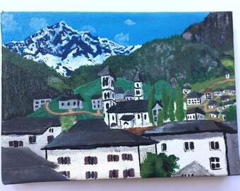 Poschiavo Alpine Village | Swiss Village | Acrylic Painting of Switzerland | Small Town Painting in the Mountains | by Jeni Hudson Art