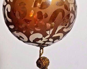 Vintage Kugel Style Glass Ornament Brown Tassel 12'