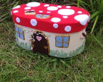 Magical Toadstool fairy house wooden trinket / jewellery keepsake box