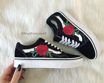 Custom Vans Old Skool, Red Rose Appliqué, Embroidered Rose