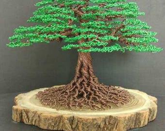 Handmade Green color tree wire Sculpture Birthday gift Christmas tree