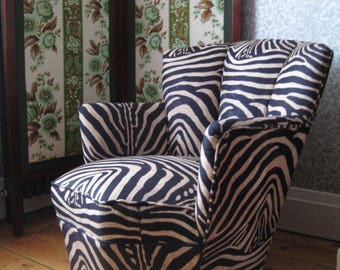 1940's Art Deco Iron-Framed Cocktail Armchair, Professionally Upholstered with Zebra Stripe Animal Printed Fabric
