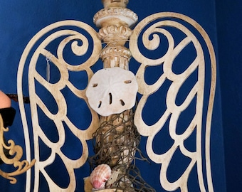 Carved Candel Stick Repurposed Angel