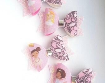 Ballet pink hair bow clips/ girls hair bows/ ballet bow/ pink bows/ Ballerina bow/ ballet bow/ baby pink bow/ baby pink hair clip/ pink bow