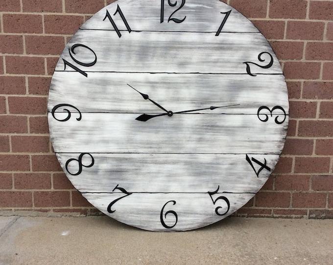 """48"""" Wall Clock, Custom Wall Clock, Large Wall Clock, Oversized Wall Clock, Neutral Wall Clock, Barnwood Wall Clock, Rustic Wall Clock"""