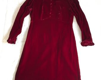 Vintage Crimson Red Velvet Long Sleeve Ruffled Cuffs and Collar Button Accents Empire Waist Maxi Dress