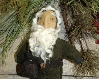 Primitive Santa/Christmas Tree Vintage Style handmade ornament/Primitive Christmas/Primitive doll/