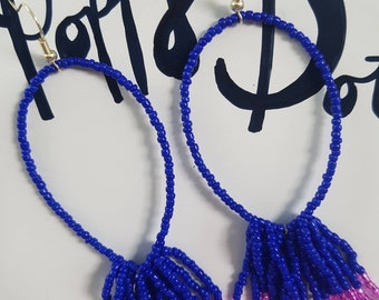 Large Hoop Beaded Earrings