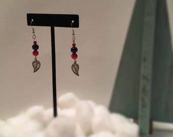 Red and Black Leaf Earrings