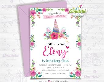 Unicorn printable birthday Invitation party custom , first Birthday invitation, unicorn birthday invitation, unicorn party,