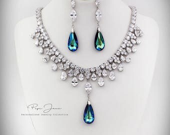 Wedding Necklace Earring Swarovski Bermuda Blue Crystal pendant Zirconia Rhinestone Necklace Earrings Wedding Jewelry Bridal Jewelry