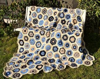 Crochet blanket * Granny squares * hex * maritime * cream blue