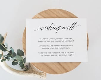 Wishing Well Card Template Black and White Laurel Wishing Well Card DIY Modern Wishing Well Calligraphy Card Wedding insert Editable #WP30