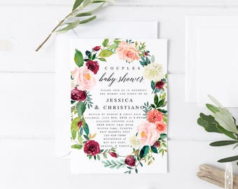 Burgundy blush Floral Couples Baby shower Invitation Template Baby Shower Invitation Editable Baby Shower Template Baby Shower Invite