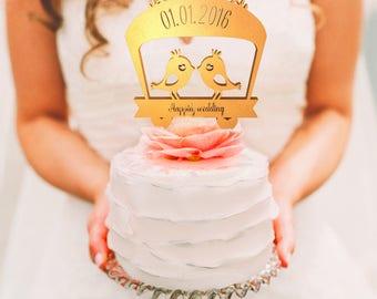 Personalised, Custom Wedding Cake Topper - 2 Birds