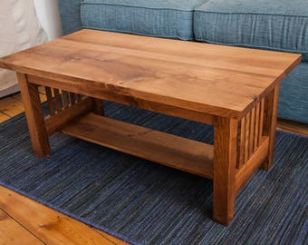 Mission style arts and crafts coffee table inflenced by the Stickley style solid ash
