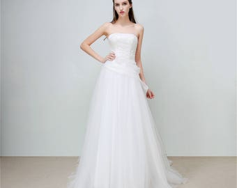 Orchid Bloom - Selena Huan French Lace Strapless A-line Gown