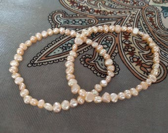 Pearl bracelets, natural freshwater 5 mm pearl bracelet set, pearl beads, salmon-coloured pearl bracelet set, elastic, woman bracelet set