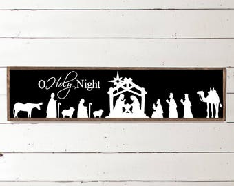 O Holy Night Handpainted Sign | Wood Christmas Sign | Farmhouse Christmas Decor | Nativity Scene Sign | Keep Christ in Christmas | Jesus