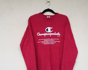 Long Sleave Red Tees CHAMPION PRODUCT Big Logo Spell Out Crew Neck Champion Unisex Clothing Size Medium