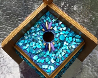 Breathtaking Blue Abalone Shell Mosaic Wren Birdhouse with Hand Shingled Wood Roof and Abstract Decoupaged Background