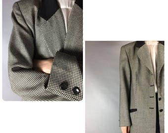 Houndstooth Jacket Vintage Large Blazer Monochrome Jacket Checkered Vintage Jacket Monochrome Blazer Large Vintage Jacket Checkered Blazer