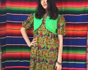 60s Hawaiian Psychedelic Acid Flower Mini Dress with Attached Bolero Vest Size Small / Medium