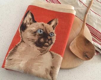 Vintage Cat Teatowel - tea towel - simese cat - crazy cat lady - kitchenalia - orange retro kitchen - country kitchen - irish linen