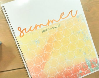 """DISCOUNTED 2017 Summer Planner Calendar Month at a Glance Custom Blank Monday through Friday 8.5"""" x 11"""""""