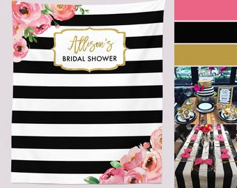 Floral Bridal Shower Backdrop, Black And White Stripe Backdrop, Kate Baby Shower Backdrop Curtain, Bachelorette Party Decorations,