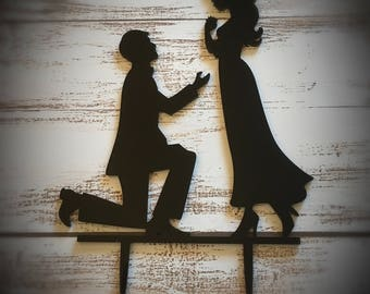 Black Enagaement Wedding Cake Topper