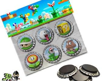 Super Mario Magnets   Bottle Cap Magnets   Party Favors   Gift
