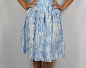 50's blue and white silk dress